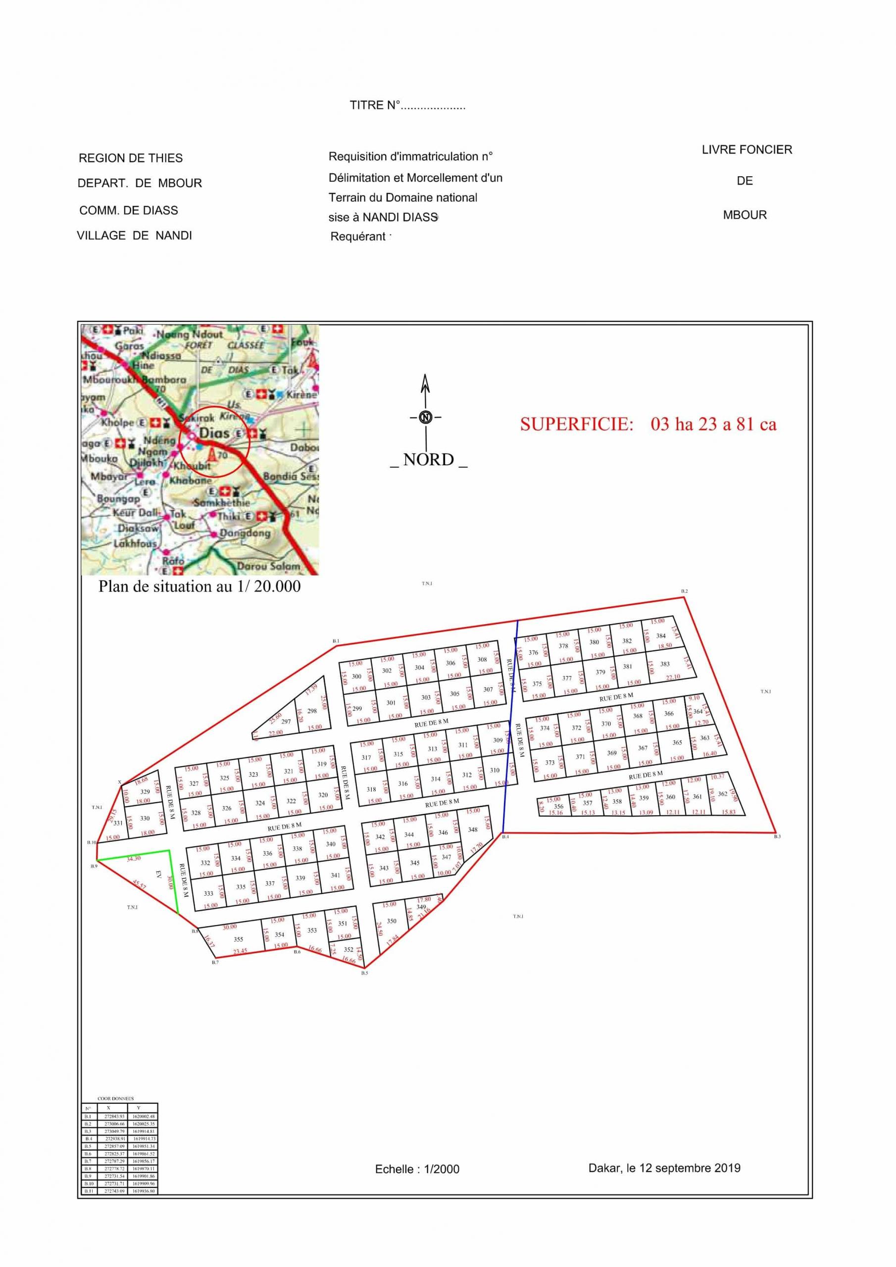 Nous mettons en vente un Lot de terrain à Diass. ce lot de terrain de 03 ha 23 a 81 ca du domaine national sise à Nandi Diass est délimité et morcelé en 150 m2. Position géographique: Région de Thiès, Département de Mbour, Commune de Diass, Village de Nandi. Prix abordable